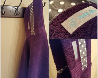 Purple/Gray Polka Dot Towel-D! Hooded Towel. Ready to Ship!
