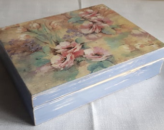 Decoupage lovely flower wooden box card box vintage