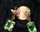 Vintage gold and green stone earrings