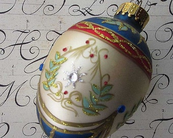 Vintage Christmas Ornament Jeweled Egg Hand Blown Glass  #A26