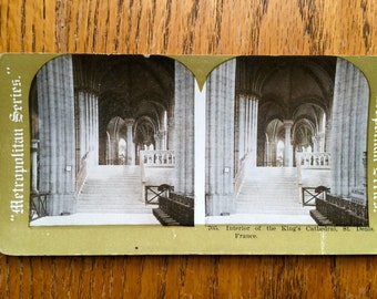 Stereoscope Stereoview 3D Photo Card 1800 Era Metropolitan Series Card No. 705 Kings Cathedral
