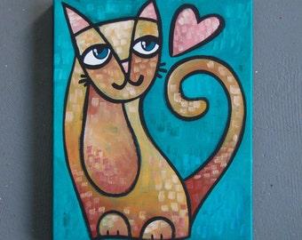 """8x10 Acrylic Cat Painting - """"Gumdrop"""""""