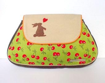 Bunny Purse, Rabbit Purse, Bunny Clutch Purse, Red Cherries Clutch, Green Purse, Bunny Love Clutch, Red Cherries On Olive Corduroy Fabric