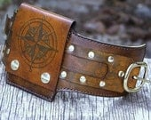 Rustic Leather Wrist Wallet Cuff with Buckle for Men and Women - World Map - MADE TO ORDER Wristband