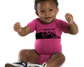Southport Love Chicago Neighborhood Screenprinted Baby bodysuit - FREE SHIPPING - in hot pink or royal