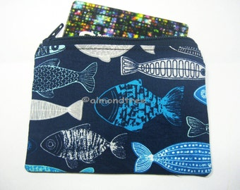 Fish handmade small zip coin pouch id1370593 id card holder lanyard tag, jogging purse, portefeuille, portmonnaie, gift ideas