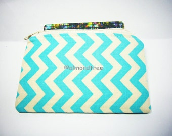 Cute Turquoise chevron, small zipper coin purse, portefeuille, women wallet, id credit card case, id1370595, portemonnaie, pouch