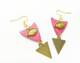 All Seeing Eyes/ Fuchsia and Brass Triangles/ Gold Earrings/ Mystic Jewelry