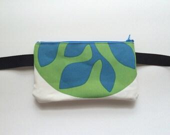Green and Blue Leaves/ Fanny Pack/ Bike Bag/Hip Bag/ Hip Belt/ Utility Belt