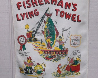 Vintage 50s Fisherman's Lying Towel / Kitchen Linen Tea Towel // Mid-Century Fishing
