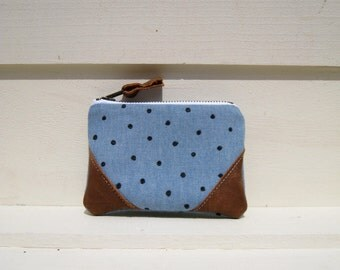 Denim Small pouch coin purse leather corners, card wallet, gift for her, lifestyle, black dots