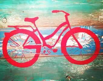 Bike Art on Reclaimed Wood, Mountain Bike, Bicycle Art, Beach Cruiser Bike Road Fixie upcycled recycled repurposed original painting on wood