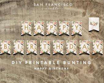 BOHO Happy Birthday Bunting - Printable Banner - Birthday Party Decor - DIY - Instant Download
