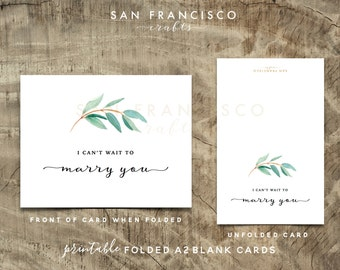 I Can't Wait to Marry You Card | Eucalyptus Wedding Card | To my Groom, To my Bride |  Size A2 Folded Card | Printable PDF, Instant Download