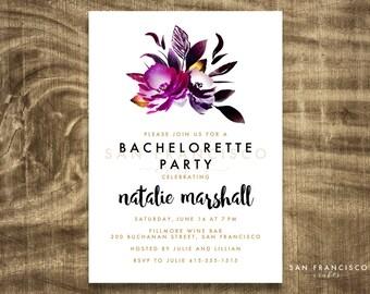Bachelorette Party Invitation | Girls Night Out | Birthday Party | Purple, Black, Gold | Printable, Digital Invite PDF