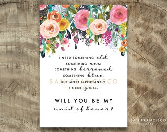 Will you be my MAID of HONOR Card, Maid of Honour |  Size A7 or 5x7, Flat and Folded Card | Ashley| Printable PDF, Instant Download
