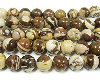 Australian Zebra Jasper Round Gemstone Beads