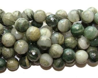 Green Rabbit Fur Quartz Faceted Gemstone Beads