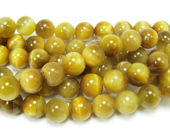 Gold Tiger Eye Round Gemstone Beads