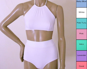 High Waisted Bikini Bottom and High Neck Halter Bikini Top in Mint, Coral, Pink, Blue, Turquoise, White, Lavender Made To Order