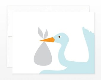 SALE New Baby Greeting Card - Cute Stork Delivery, Baby Shower Card, New Baby Announcement - Congratulations Baby Card - New Parents Card