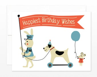 Cute Child Birthday Card - Vintage Toy Parade Birthday Greeting Card - Happiest Birthday Wishes - card for children, card for kids