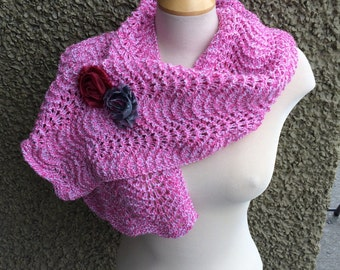 Fan and Feather Varigated Pink and White Scarf