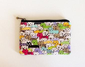 mini zipper pouch  - lot of cats in green