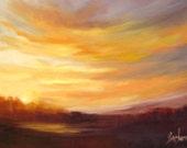 Sunset  oil painting Barbara Haviland Barbsgarden Landscape framed