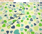 HALF OFF Reclaimed Bed Sheet Blue and Green Heart Pattern Fat Quarters