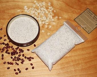 adzuki bean and oatmeal cleansing grains organic skin scrub exfoliant - mild neutral vegan facial cleanser or mask - 4 oz
