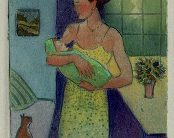 Mother and Child Print Mothers Day Art Miniature Framed Collagraph Belinda DelPesco