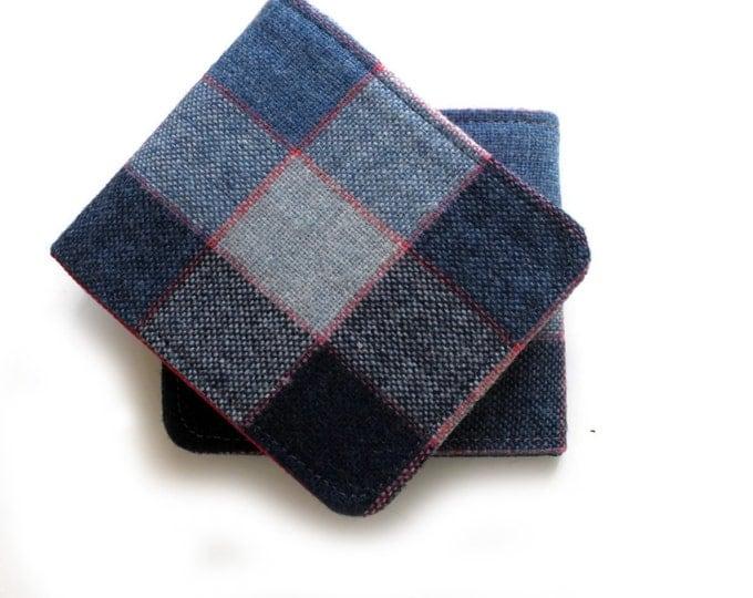 Wool Billfold  / Ultra Thin Minimalist Mens Wallet / Blue Grey Plaid Non-Leather Wallet