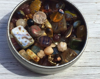 Jewlery making kit, Glass bead lot, bead container, glass beads and more in a magical bead tin, earth tones, 2.5 inch aluminum tin 2 ounces