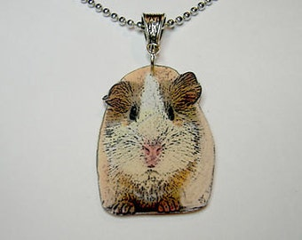 Handcrafted Plastic Guinea Pig Cavie Necklace Pendant