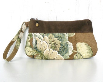 Pleated Wristlet, Small Clutch Purse, Zipper Wristlet Clutch - Veranda Floral in Tan, Cream and Sage Green