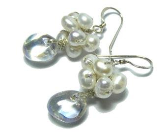 Bridal earrings , Pearl Drop Earrings , Bridal Jewelry, Autumn Winter wedding jewelry, Bridal Pearl drop earrings