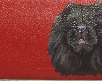 Black Chow Chow Dog Custom Painted Ladies Leather Wallet
