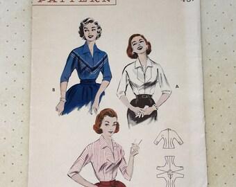 1950s Butterick Women's Blouse Pattern No. 7087