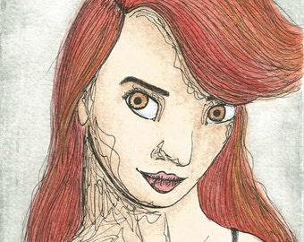 Original Pen and Ink Portrait Red Hair