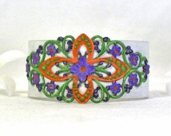 Rainbow Cuff - Floral Violet Cuff Bracelet  -Flowered Purple Green Cuff Jewelry - Violet and White Cuff  Bracelet