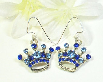Blue Crown Earrings - Princess for a Day - Crown Jewelry - Sapphire Blue Earrings - Everyday Jewelry