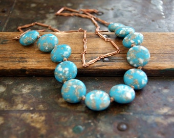 Hand Knotted Necklace - vintage turquoise speckled bead necklace - Knotted Necklace - bohemian jewelry - boho chic