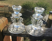 Pair of Fostoria Pressed Glass Depression Glass Etched Candle Holders Candlesticks Detailed Art Deco Inspired