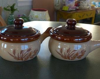 Vintage Brown and Cream Bean Pots- Wheat Sheaf Design-Handles-Lids Stoneware Crock Set Lids Mini Casserole Crocks Primitive Brown Ware
