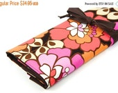SALE Large knitting needle case organizer - Stella Bloom - 30 brown pockets for all size needles or paint brushes