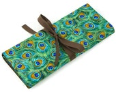 Short Knitting Needle Case Organizer - Royal Peacocks - brown pockets for circular, double pointed, interchangeable or travel