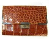 Antique Art Deco Genuine Crocodile Wallet Billfold British Hallmarks Sterling Silver Made in 1926