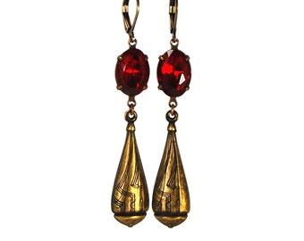 Art Deco Style Earrings in Antiqued Brass with Ruby Red Swarovski Crystal Prong Set Stones 3 Dimensional Teardrop Drop Dangle Earrings