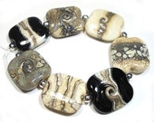 Handmade Lampwork  beads Squeezed Glass  Beads Neutral LampworkIvory and Black  Mix
